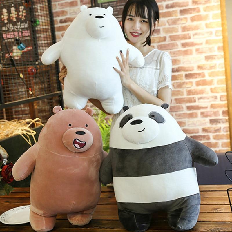 25/30cm Kawaii Panda Bears Plush Toy Cartoon Bear Stuffed Grizzly Gray White Bear Panda Doll Kids Love Birthday Gifts