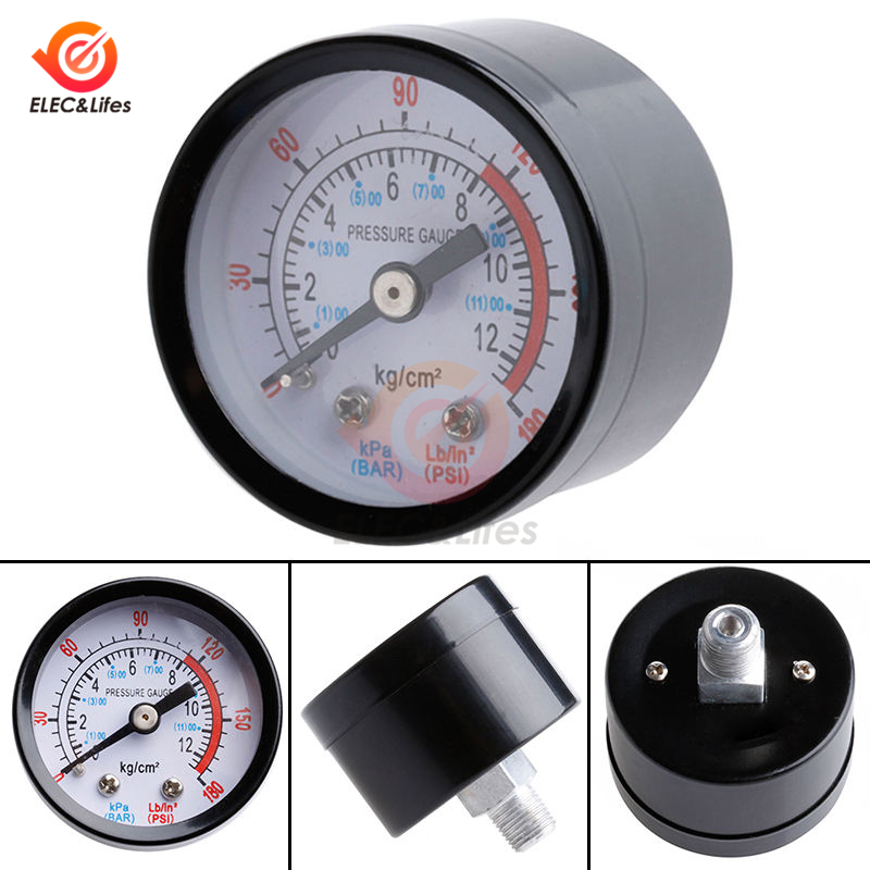 Air Compressor Pneumatic Hydraulic Fluid Pressure Gauge Meter 0-12Bar / 0-180PSI Thread Diameter 1/8 BSP