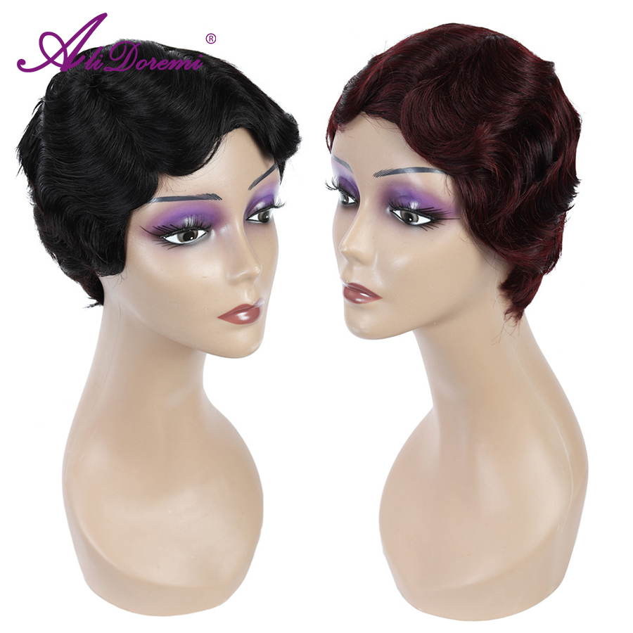 Short Finger Wave Wigs Short Bob Wigs For Woman Short Pixie Cut Wig Peruvian Remy Short Full Human Hair Wigs  1B 2# 99j Blonde