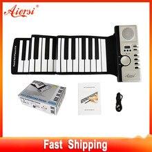 Aiersi-بيانو سيليكون ناعم قابل للطي ، بيانو قابل للطي ميدي ، محمول ، 49 61 88 مفتاحًا ، هدية موسيقية للأطفال