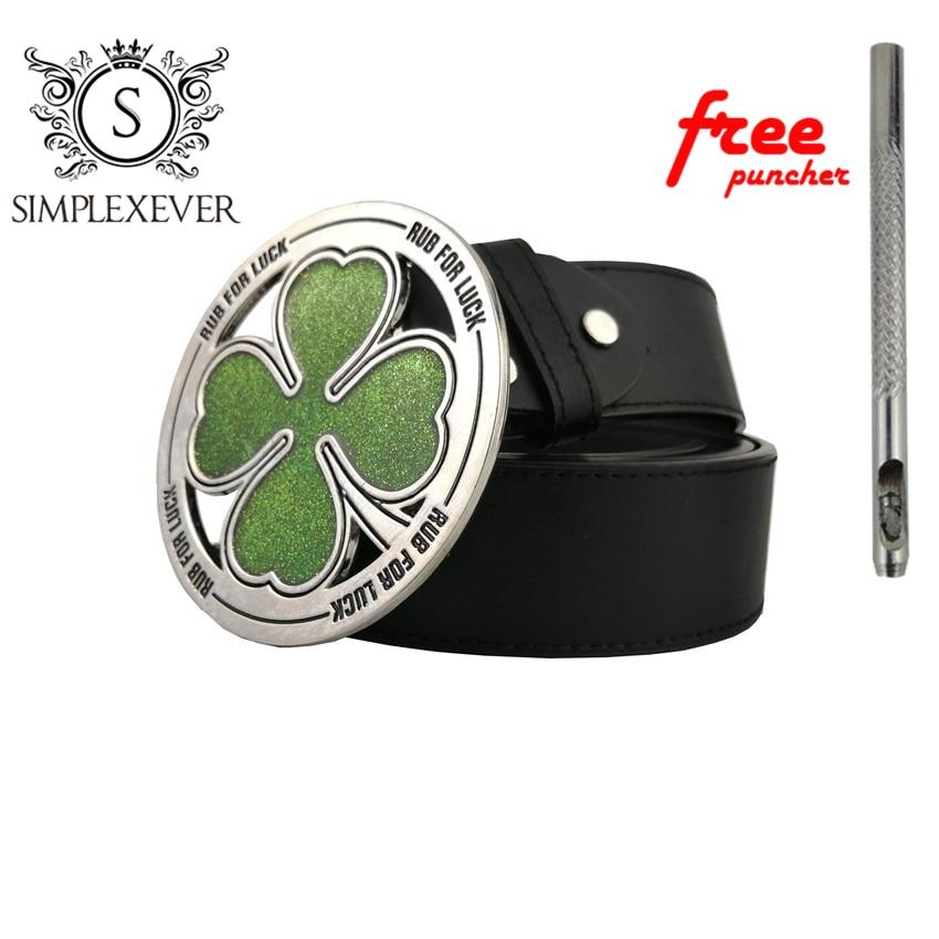 Lucky Men's Belt Buckle Four Leaf Clover Metal Belt Buckle Green Silver Belt Buckle With Leather Belt For Husband's Gifts