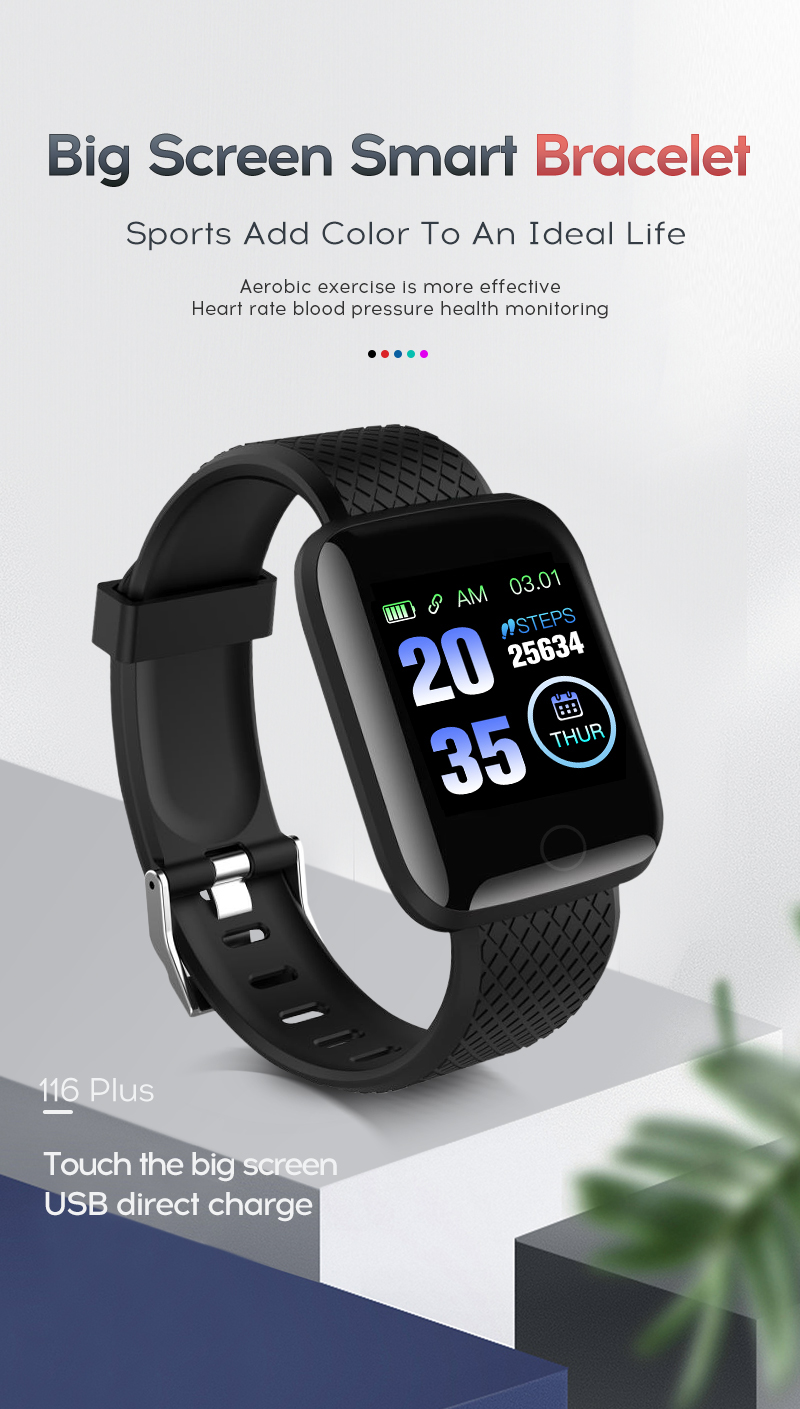 LYKRY 116 plus Smart Bracelet Fitness Tracker Heart Rate Blood Pressure Monitor Smart Band IP67 Waterproof Sports For Android IOS+Box (2)