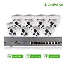 8ch 5MP POE zestaw Audio H.265 System inteligentny CCTV bezpieczeństwa NVR 5.0MP kryty kamera IP na podczerwień nadzoru wideo DIY G.Craftsman