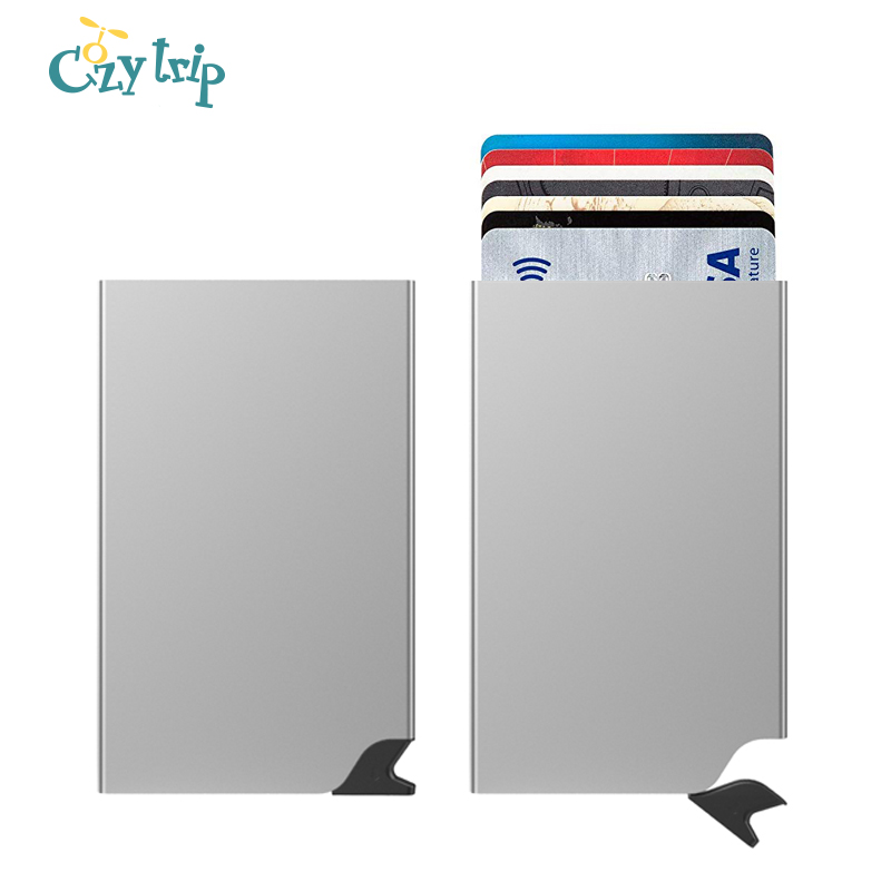 Auto Pop Up RFID Credit Card Holder Slim Wallet Front Pocket Card Protector Aluminum Wallets Hold 6 Cards