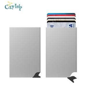 Auto Pop up RFID Credit Card Holder Slim Wallet Front Pocket Card Protector Aluminum Wallets Hold 6 Cards(China)