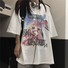 Cotton cartoon short sleeve T-shirt 2021 new summer Korean ins loose and versatile student white top men's and women's fashion