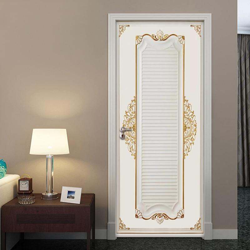 PVC Door Mural Wall Decals Art 3D Plaster Pattern Door Sticker Home Decor Picture Self Adhesive Waterproof Wallpaper For Bedroom