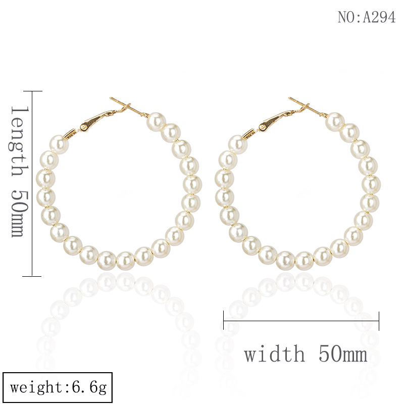 Europe and the United States 2019 new hot sale geometric round exaggerated pearl pendant earrings women earrings fashion jewelry 3