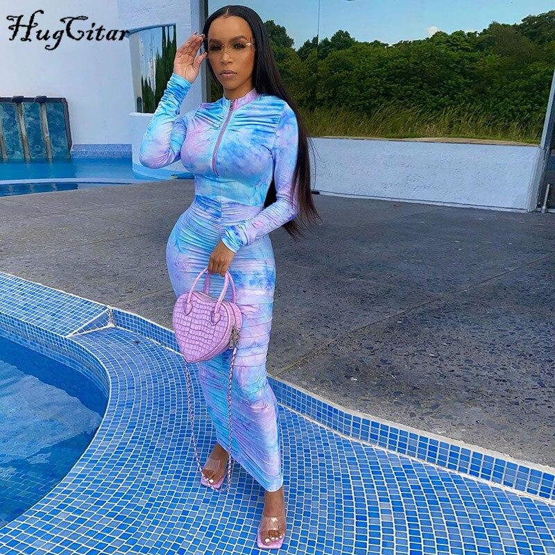 Hugcitar 2020 long sleeve tie dye zipper ruched sexy bodycon maxi dress autumn winter women streetwear party elegant long dress