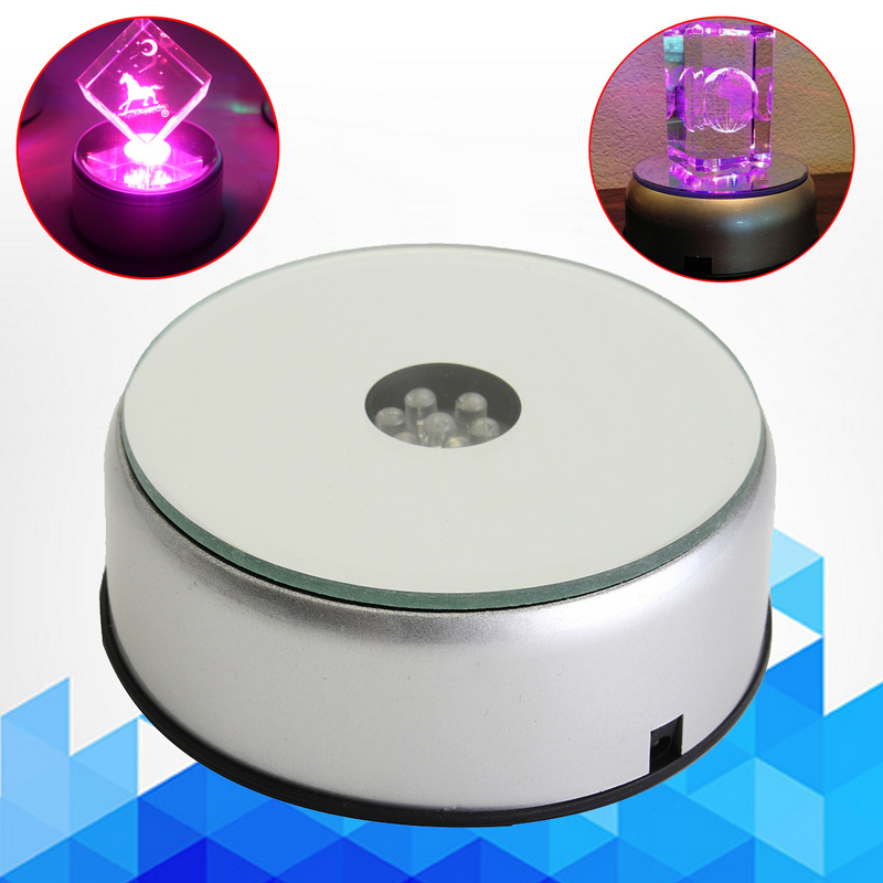 LED Colorful Luminous Base Light Laser Rotating Crystal Display Base Stand Holder With  US Adapter Glass Transparent Objects