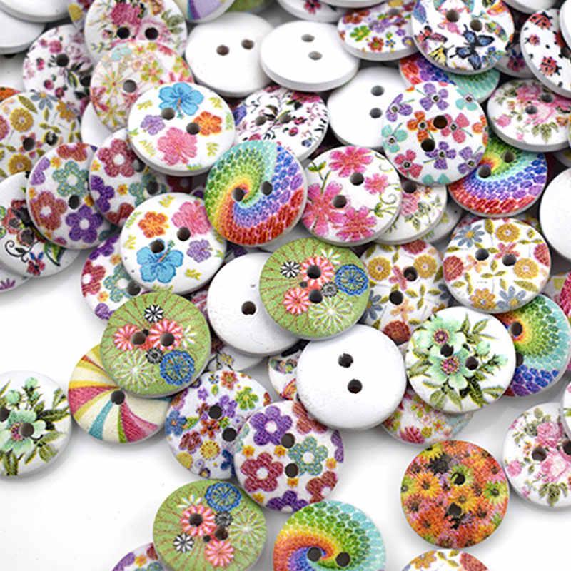 """9007 Scrapbook Craft 15mm Pkg of 50 FLOWER PATTERN 2-hole Wood Buttons 5//8/"""""""