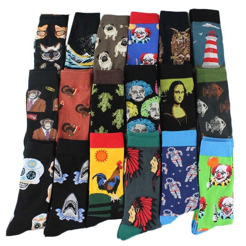 2019Combed Cotton Fashion Hip Hop Men Socks Trend Harajuku Marvel Clown Chicken Skateboard Happy Socks Funny Socks
