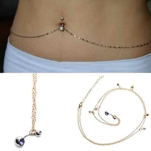 Women Rhinestone Navel Ring Belly Button Bar Waist Chain Body Piercing Jewelry