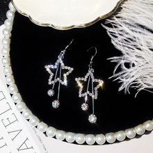 Korean Version of The Personality Wild Long Stars Earrings Temperament Flash Drill Five-pointed Star Wholesale