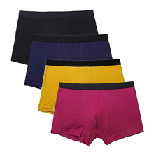 4Pcs/Lot Boxer Men Bamboo Fiber Underwear Mens Elastic Solid Breathable Comfortable Boxers Shorts Underpants Drop Shipping
