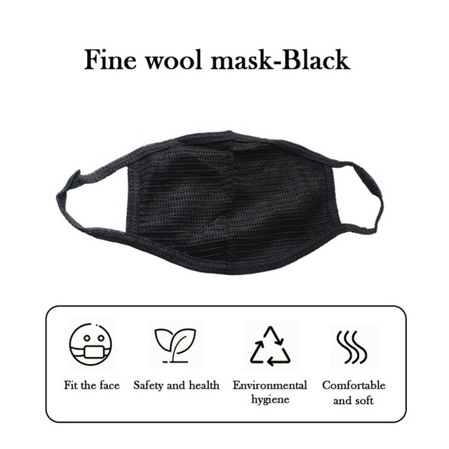 Cotton Black Mouth Mask Anti Dust Mask Activated Carbon Filter Windproof Dust Proof Anti Flu Anti Haze Face Masks Care 3