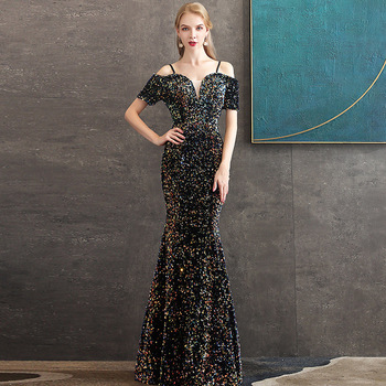 Evening Dress 2020 New The Party Prom Formal Evening Dress Elegant Boat Neck Mermaid Bling Bling Sequin Gown Robe De Soiree