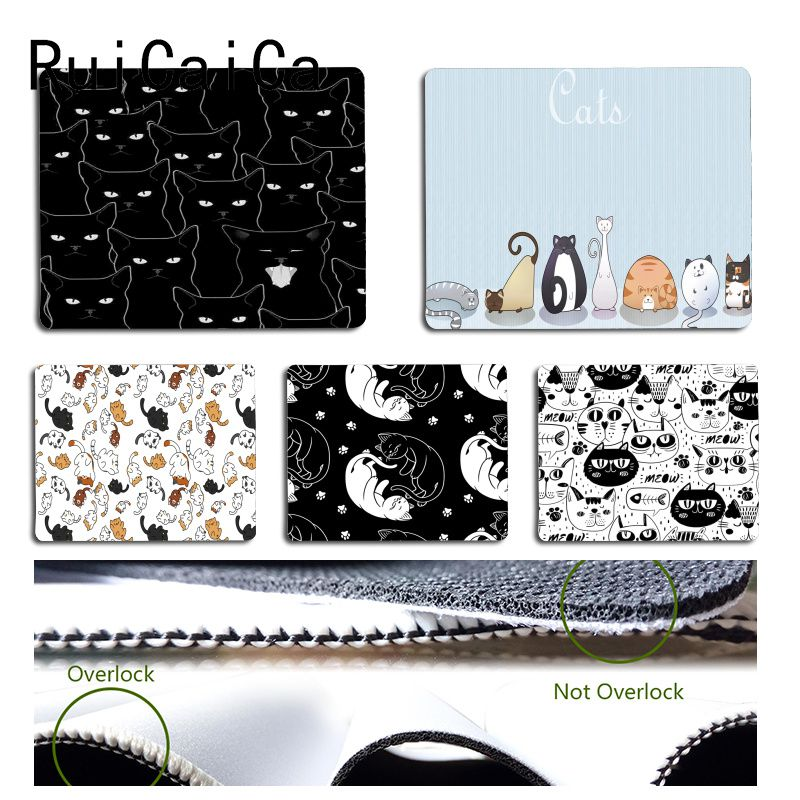 RuiCaiCa Vintage Cool Cats <font><b>black</b></font> <font><b>and</b></font> <font><b>white</b></font> Customized laptop Gaming <font><b>mouse</b></font> <font><b>pad</b></font> Size for 18x22cm 25x29cm Rubber Mousemats image