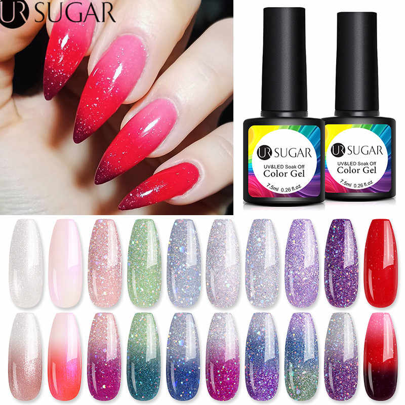 UR Gula 7.5 Ml Thermal Glitter Gel Suhu Berubah Warna Uv Gel Varnish Rendam Off UV LED Gel Nail art Pernis