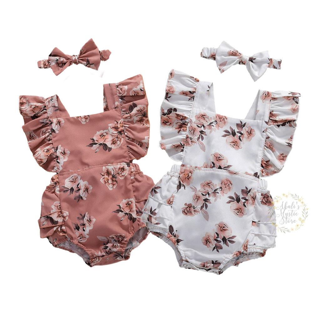 0-24M Newborn Infant Baby Girls Flower Romper Ruffles Jumpsuit Overalls Summer Toddler Girls Clothes Costumes
