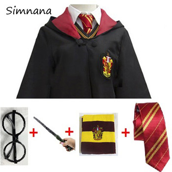цена на Cosplay Costume Potter Magic Robe Cape Suit Tie Scarf Wand Glasses Potter Cosplay Clothes Accessories Gift Kids Potter Cosplay