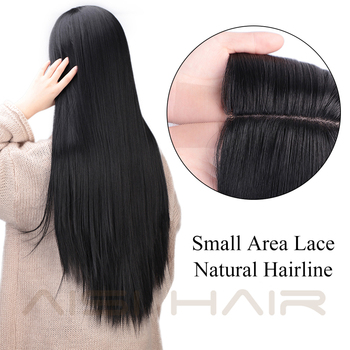 AISI HAIR Long Straight Black Wig Synthetic Wigs for Women Natural Middle Part Lace Wig Heat Resistant Fiber Natural Looking Wig 2