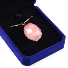 2019 New hot Natural Stone pendant Necklace jewelry Rose Quartzd Crystal Pendant Ladies Alloy Metal Chain Jewelry Box