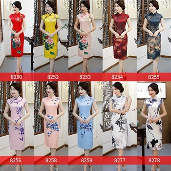 The new mid - long style cheongsam with stand collar high slit fashion slim modified retro Chinese