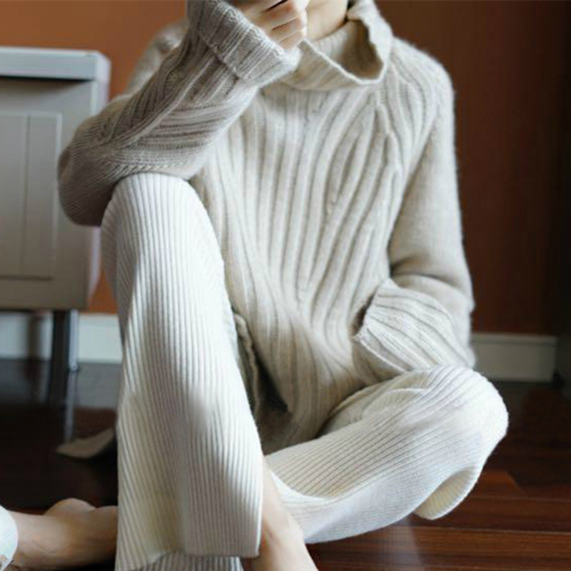 Smpevrg100% Pure Wool 19 New Heavy Thick Cashmere Sweater Female High Collar Loose Korean Version Of The Pullover Warm Sweater