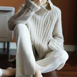 Smpevrg100 % reiner wolle 19 neue schwere dicke kaschmir pullover weibliche hohe kragen lose Koreanische version der pullover warme pullover
