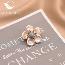 XlentAg 100% Natural Baroque Pearl Flower Brooch Pin For Women Girl Lovers Engagement Gift Handmade Luxury Fine Jewelry GO0349A