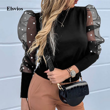 Sexy See-Through Patchwork Mesh Shirt Elegant Women Ribbed Slim Blouse Tops Autu