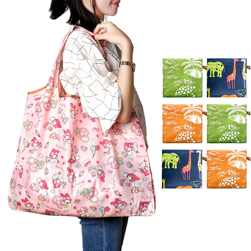 2020 Tote Folding Pouch Handbag Fashion Printing Foldable Eco-Friendly Shopping Bag Convenient Large-capacity Travel Grocery Bag