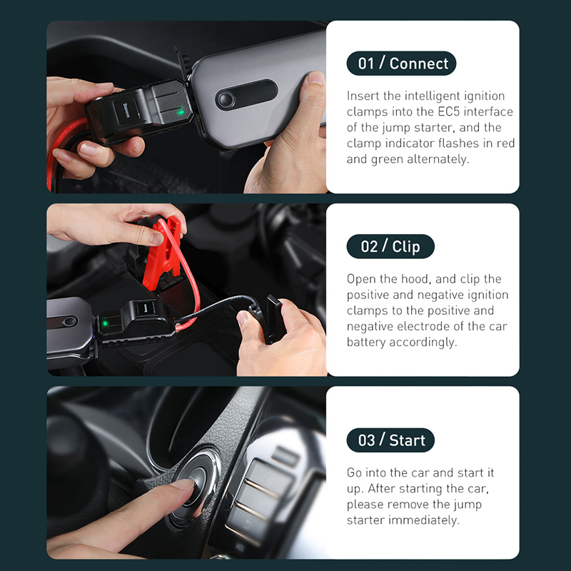 Base us 12000mAh Car Jump Starter Power Bank 12V Auto Starting Device 1000A Car Booster Battery Emergency Starter Battery for Car 6