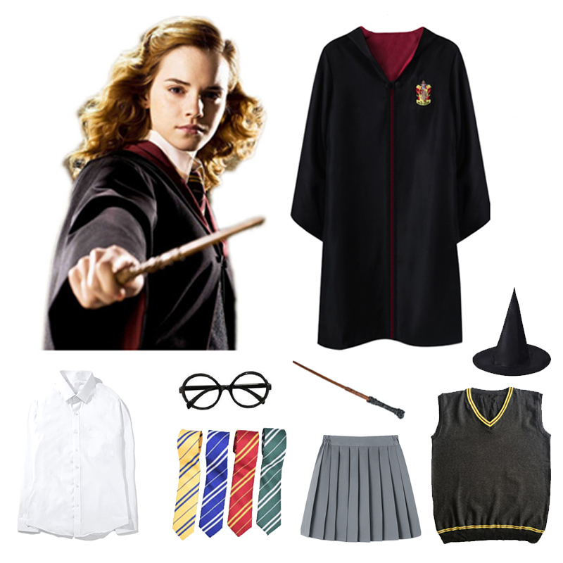 Potter Cosplay Gryffindor Costumes Outfits Magic Robe Cape Halloween Hogwarts Uniform Tie Ravenclaw Hufflepuff Slytherin Cloak