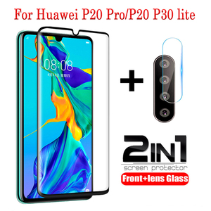2in 1 Tempered Glass For Huawei P20 P30 lite P20 pro p40 lite E glass camera lens Screen Protector For Huawei P20 P30 lite Glass(China)