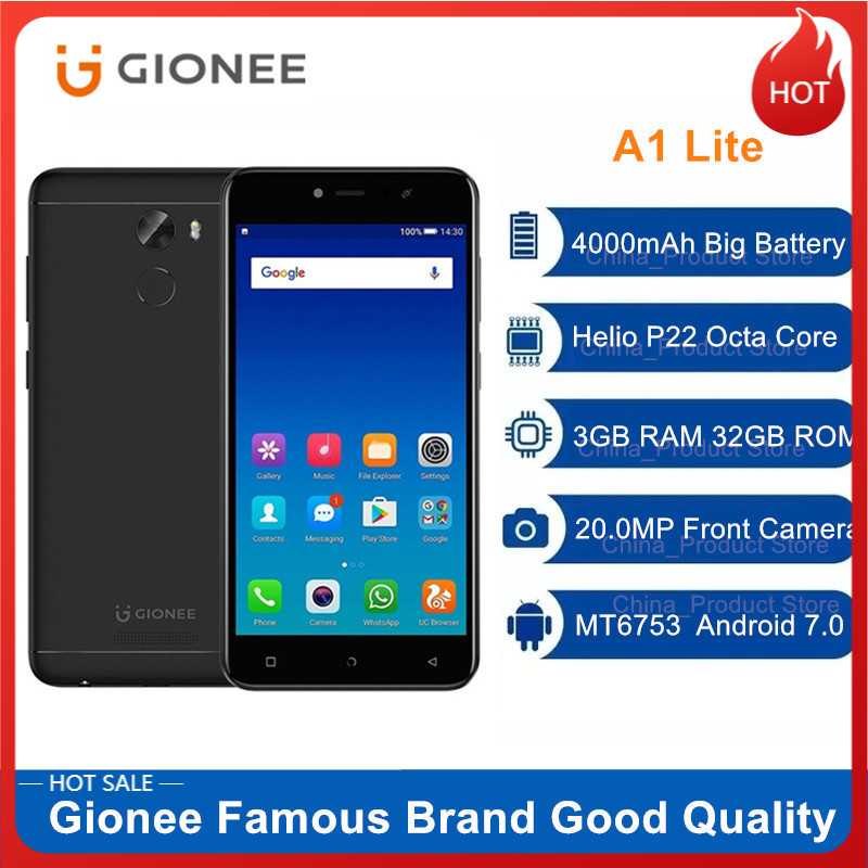 Gute Qualität Smartphone Gionee A1 Lite 4G LTE Octa-core 3GB 32GB 20,0 MP Android 7,0 MT6753 4000mAh 5.3 Fingerprint Handy