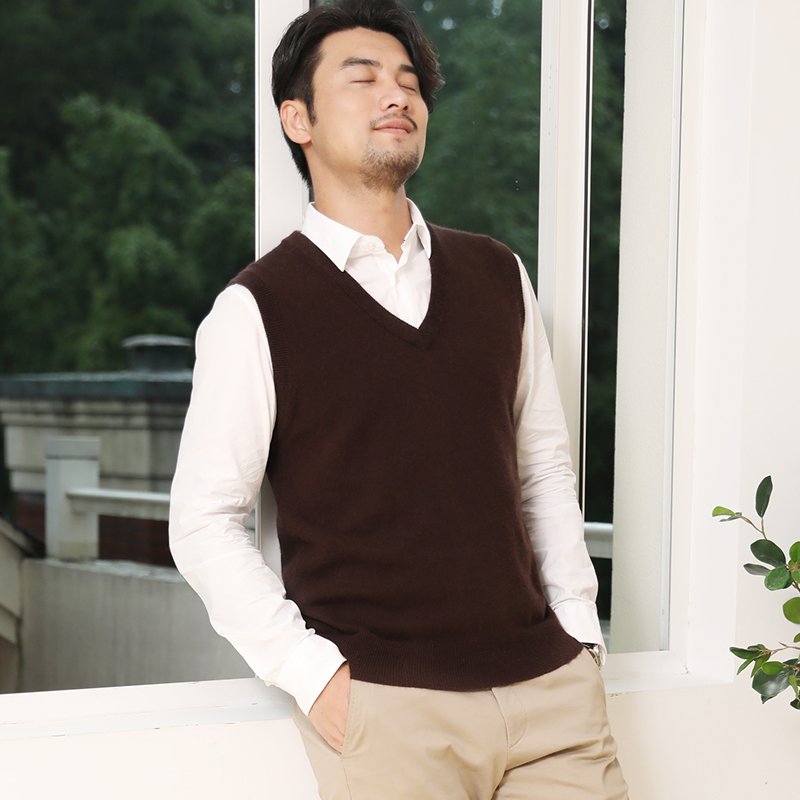 2019 Autumn And Winter New Cashmere Sweater Vest Male V-neck Sweater Sweater Vest Men's Sleeveless Vest Sweater