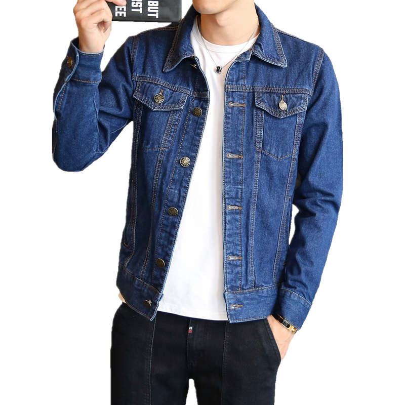 Hot 2019 Fashion Mens Denim Jackets Slim Fit Mens Jeans Jacket Cotton Outwear Coat Long Sleeve Hole Male Clothing Size M-4XL