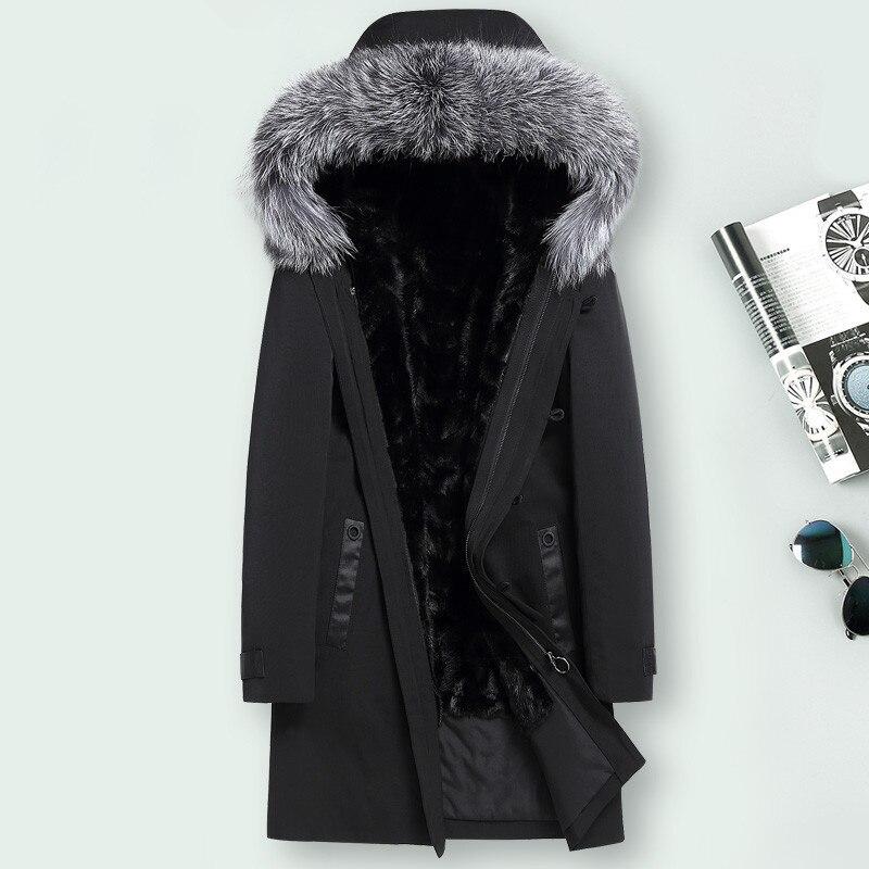 Real Fur Coat Men Mink Fur Liner Fox Fur Collar Winter Jacket Men Real Fur Parka For Mens Clothing Plus Size Casaco 1855 YY819