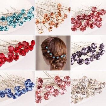 10Pcs/Lot Women Hair Sticks Hairpin Diamond U-type Desgin Hair Clips Alloy Crystal Fashion Wedding Hair Accessories