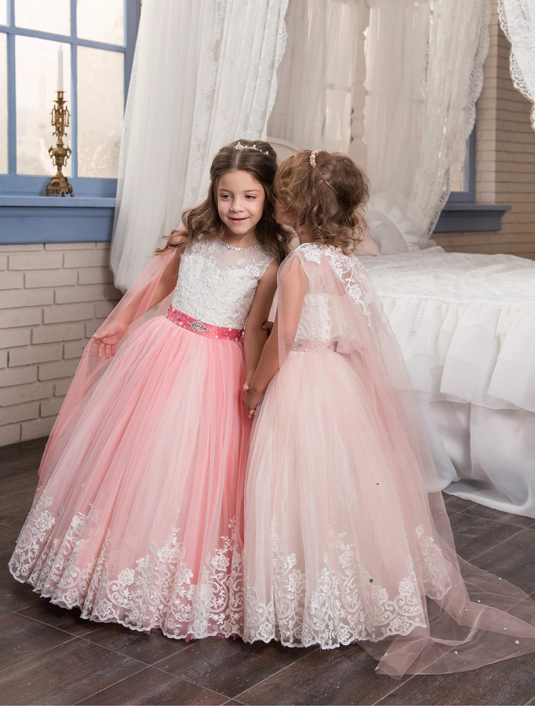 Formal Red Lace Beading Sash Ball Gown Flower Girl Dresses Pageant Party Dresses Children's First Communion Dresses For Wedding
