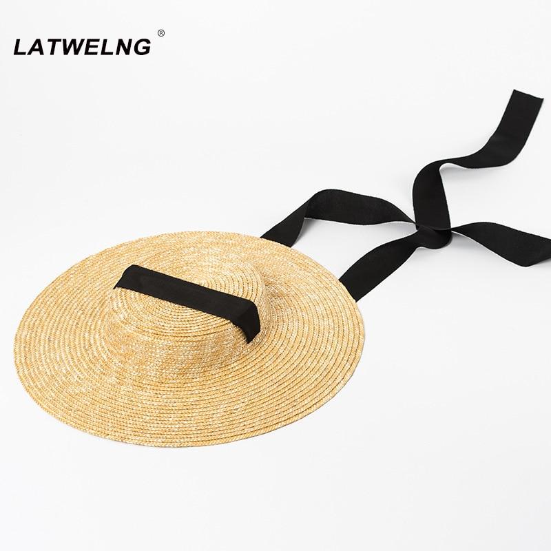 Wholesale Wide Brim Straw Hat For Women Long Ribbon Ladies Beach Hats Fashion Dress Up Summer Sun Visor Caps Droshipping