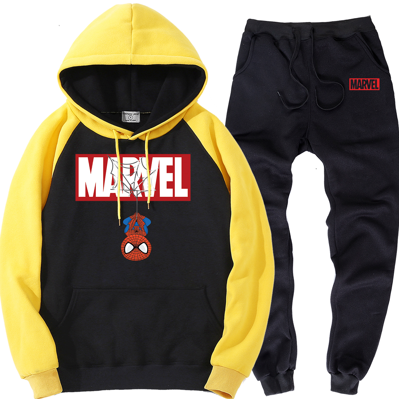 Spiderman Mens Track Sets 2019 Autumn Fleece Clothing Suits Marvel Personalized Hoodies Brand Trousers Casual Warm Clothing Men