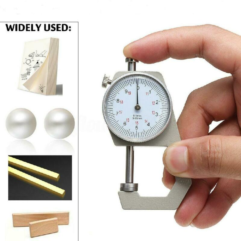 Precision Dial Pocket Flat Head Thickness Gauge Gage Measuring Tool Kit 20mm