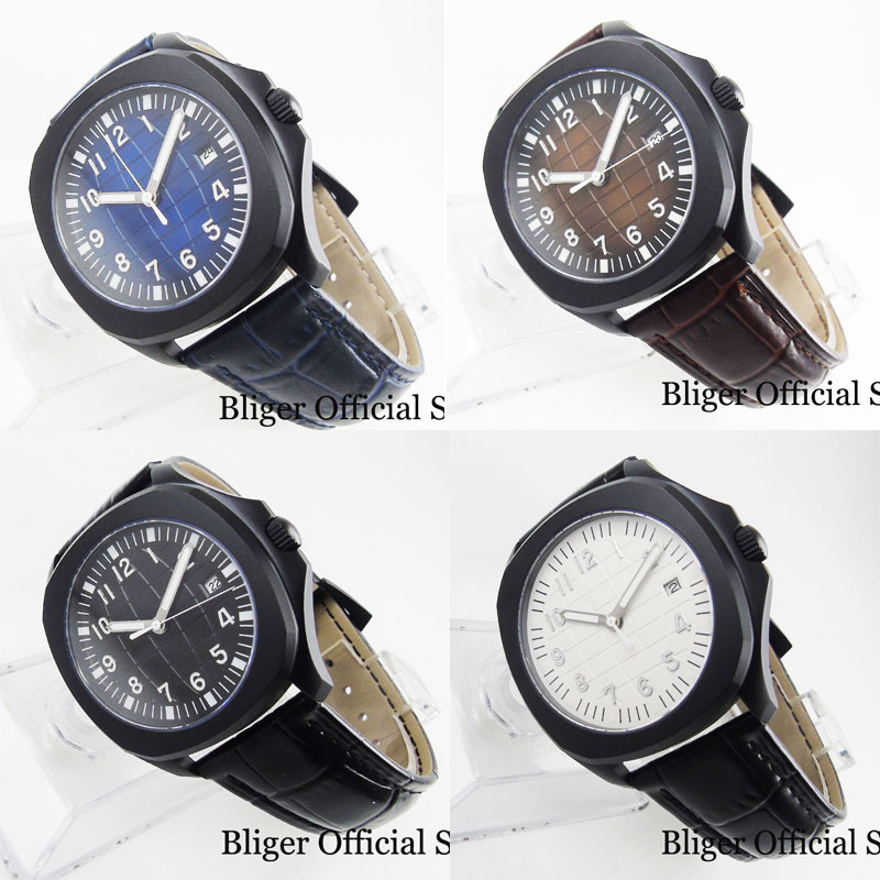 BLIGER Mechanical Wristwatch Men Sapphire Glass PVD Case Automatic Movement Leather Strap Earth Pattern Date Window 39mm