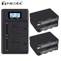 2Pcs 7200mAh NP-F970 NP F970 Power Display Battery+1 LCD faster Dual Charger for SONY F960 F550 F970 F570 CCD-RV100