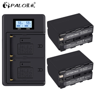 2Pcs 7200mAh NP F970 NP F970 Power Display Battery+1 LCD faster Dual Charger for SONY F960 F550 F970 F570 CCD RV100
