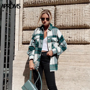 Image 1 - Aproms ירוק לבן משובץ מעיל נשים ארוך שרוול כיסי Oversize גבירותיי מעילי סתיו חורף Streetwear מזדמן נשי הלבשה עליונה