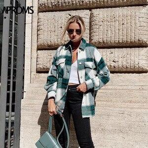 Image 1 - Aproms verde branco xadrez jaqueta feminina manga longa bolsos oversize senhoras casacos outono inverno streetwear casual feminino outerwear
